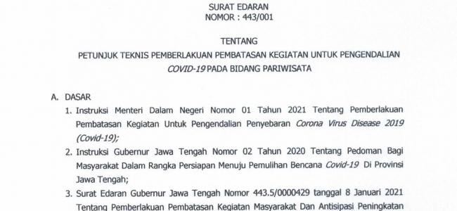 SE Pemberlakuan Pembatasan Kegiatan Untuk Pengendalian Covid-19 Pada Bidang Pariwisata