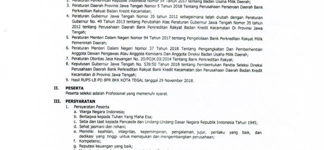 Pengumuman Perekrutan Calon Direktur Umum dan Kepatuhan P.D BPR BKK Kota Tegal
