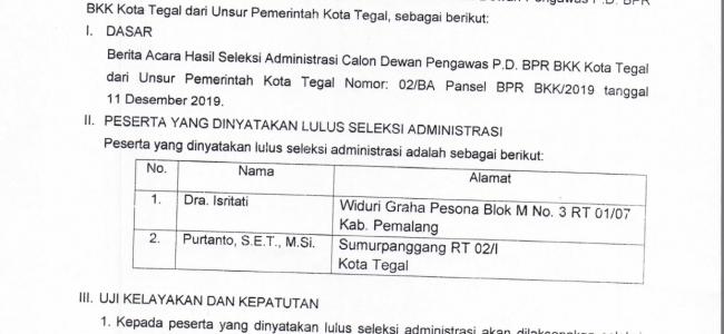 Hasil Seleksi Administrasi Calon Dewan Pengawas P. D. BPR BKK Kota Tegal