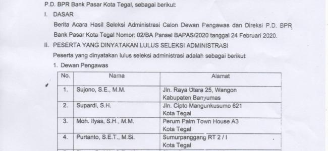 Pengumuman Hasil Seleksi Administrasi Calon Dewas & Direksi P.D. BPR Bank Pasar Kota Tegal